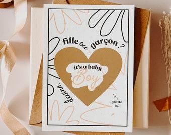 Scratch card, GARCON, announcement card, scratchie card, postcard, postcard pregnancy, future mom, gender reveal, girl or boy