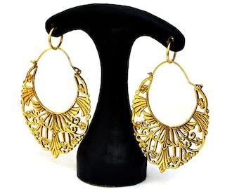 Gypsy Hoop Earrings, Brass Hoop Earrings, Boho Earrings, Large Tribal Earrings, Gold Filigree Earrings, Brass Hoops, Gypsy Jewelry