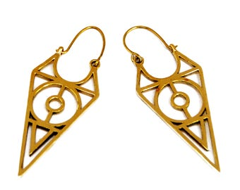 Tribal Geometric Earrings, Tribal Earrings, Brass Geometric Earrings, Triangle Earrings, Gypsy Earrings, Tribal Boho Earrings