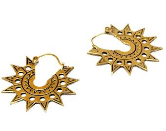 Aztec Sun Earrings, Brass Hoop Earrigs, Tribal Sun Earrings, Aztec Earrings, Tribal Earrings, Sun Hoop Earrings, Mexican Jewelry