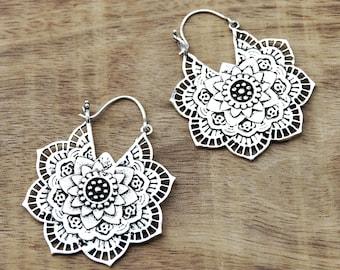 Mandala Flower Earrings, Boho Earrings, Gypsy Earrings, Silver Earrings, Indian Earrings, Bohemian Earrings, Tribal Earrings, Indian Jewelry