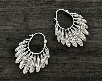 85647ced9 Silver Feather Hoop Earrings, Boho Tribal Earrings, Native American Jewels