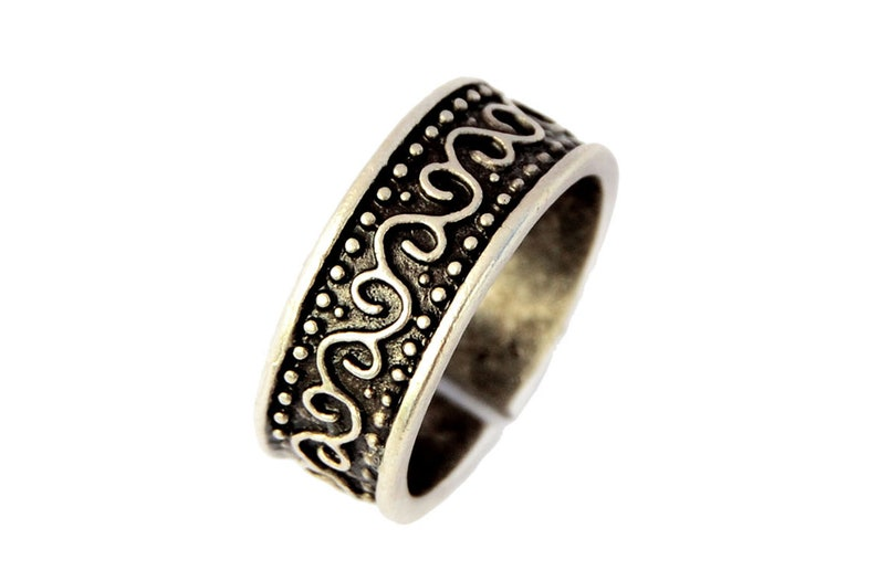 Open Engraved Ring in Antique Silver Gypsy Boho Ring Adjustable Silver Band