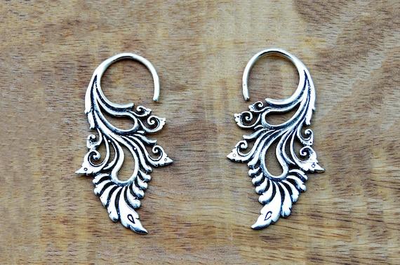 Große Creolen Ohrringe Ethnisch Tribal Azteken Hippie Boho Lang Indisch Silber