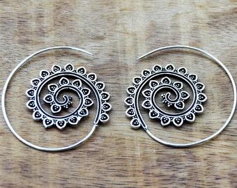 Spiral Earrings, Silver Earrings, Hoop Earrings, Tribal Earrings, Gypsy Earrings, Boho Earrings, Gypsy Hoops, Belly Dance Jewelry