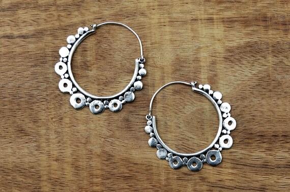 b51e26710 Boho Gypsy Earrings Silver Creole Hoops Indian Hoop Earrings | Etsy