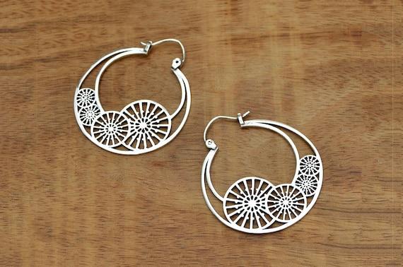 1c40bcdd8 Gypsy Hoop Earrings Tribal Silver Earrings Ethnic Earrings | Etsy