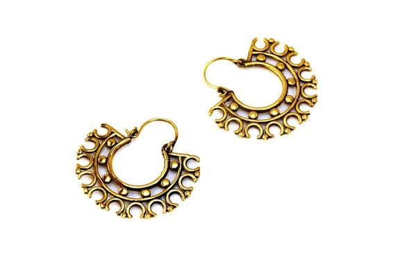 Tribal Hoop Earrings Gold Ethnic Creoles Indian Tribal Etsy