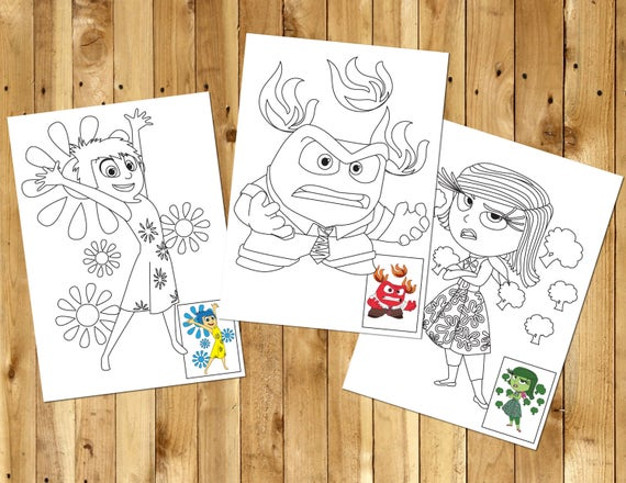 Inside Out Printable Coloring Pages Instant Digital Download Etsy