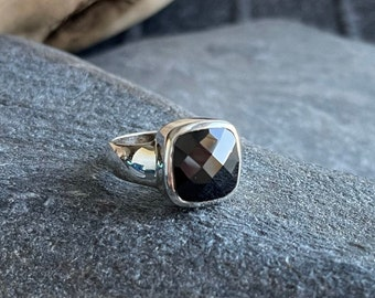 Sterling Silver Faceted Black Onyx Ring, Free Shipping and Gift Wrap, Trending