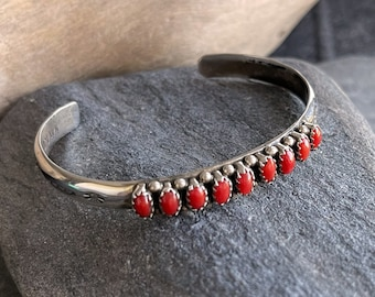 Silver Petite Point Navajo Coral Cuff Bracelet, Free Gift Box, FREE SHIPPING