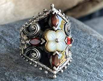 Barbara Bixby 18k Gold, Silver and Garnet Statement ring, Free Shipping and Gift Wrap, Trending