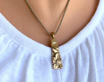 Handmade Gold Bronze Flower Necklace, Free Shipping and Gift Wrap