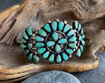 Stunning Silver and Natural Turquoise Cuff Bracelet, Free Gift Box, FREE SHIPPING