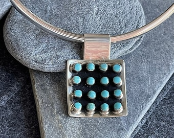 Square Sterling Silver Turquoise Pendant Collar Necklace, Free shipping and Gift Wrap