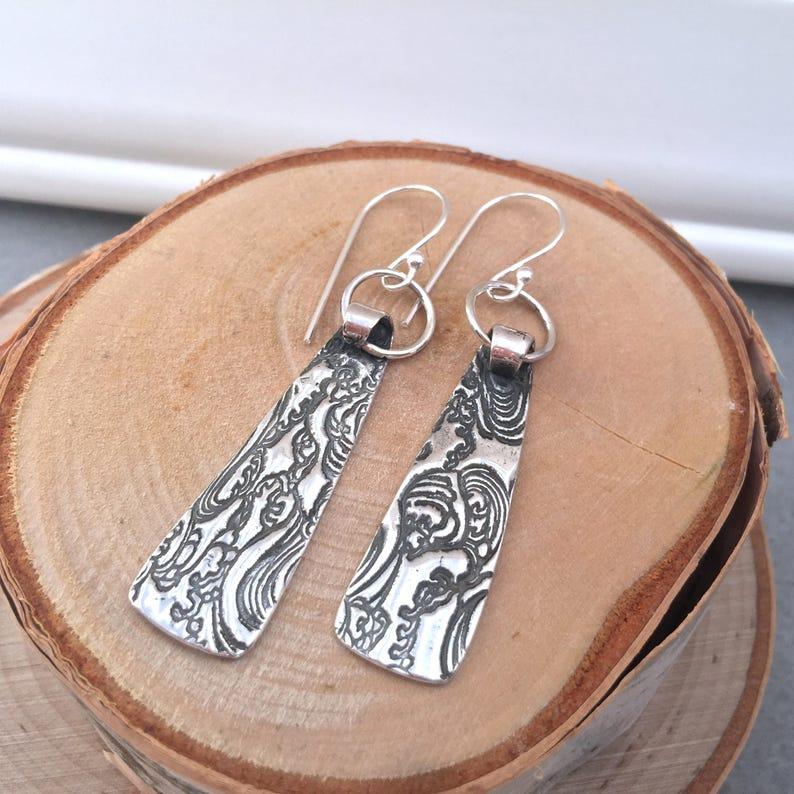 Long Sterling Silver Wave Earrings Waves Ocean Texture image 0