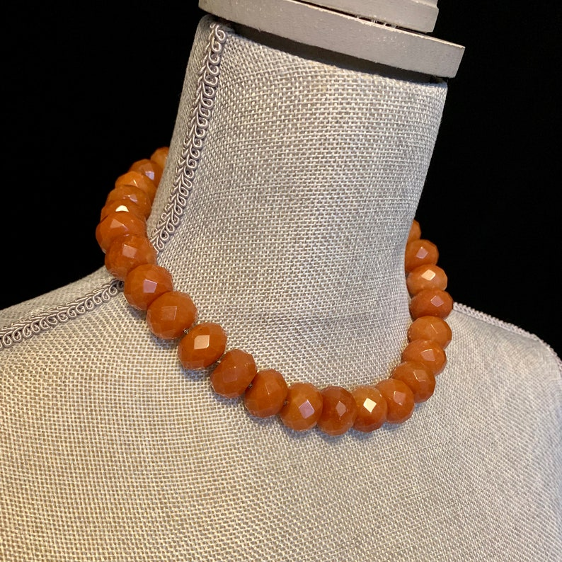 Faceted Carnelian Bead Necklace Choker Carnelian beads image 0
