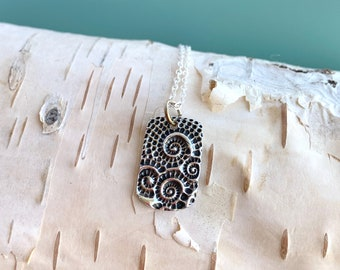 Handmade Silver Nautilus Tag Necklace, Free Shipping and Gift Wrap