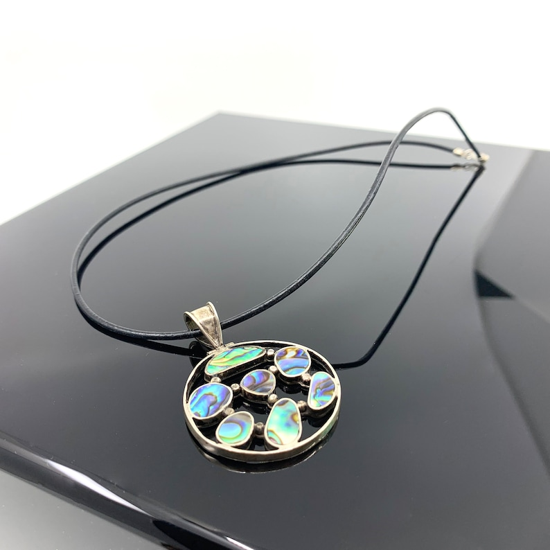 Silver Abalone Shell Necklace Pendant Shell Blue Green image 0