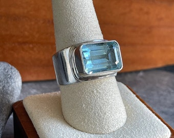 Large Sterling Silver Aquamarine Solitaire Ring, Free Shipping and Gift Wrap