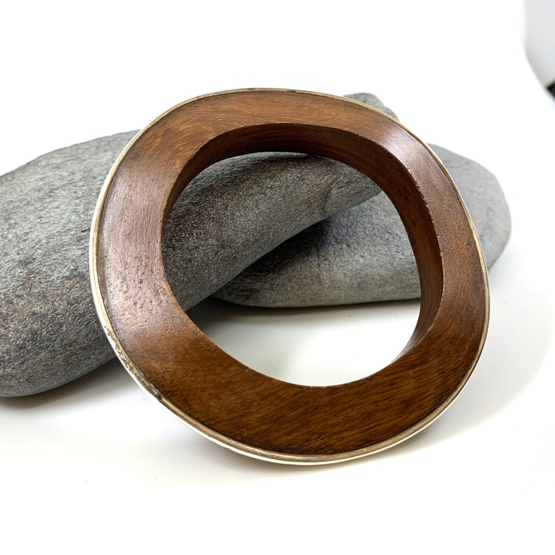 Vintage Silpada Wood Bangle Rosewood Silver Inlay Chunky image 0