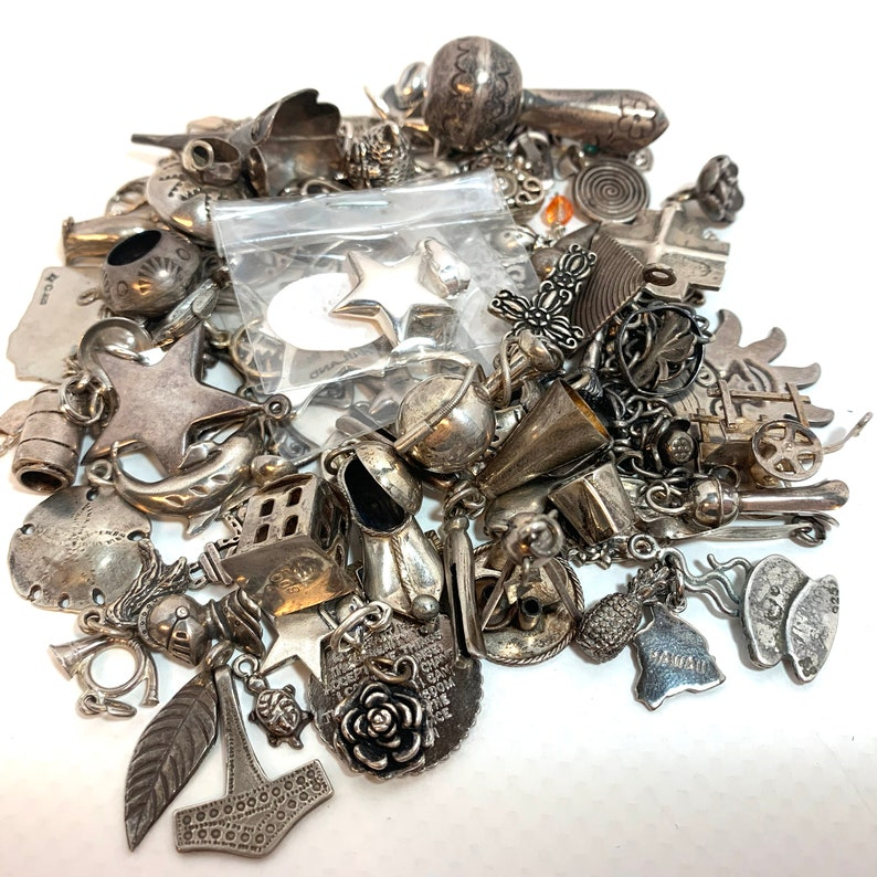 Sterling Silver Charms Large Lot Pendants Charm Bracelets image 0