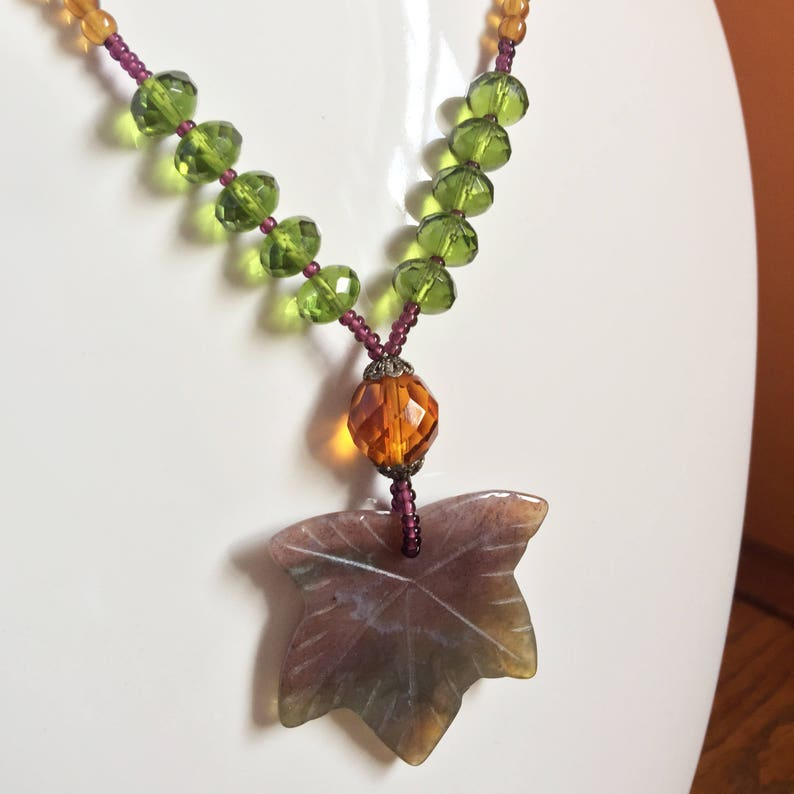 Beaded Leaf Necklace Carved Jasper Green Crystal Amber image 0