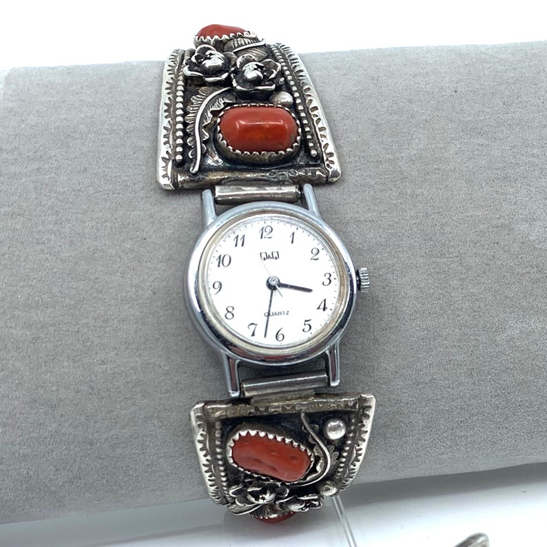 Silver Coral Watch Navajo Jewelry Lowell Draper Coral image 0