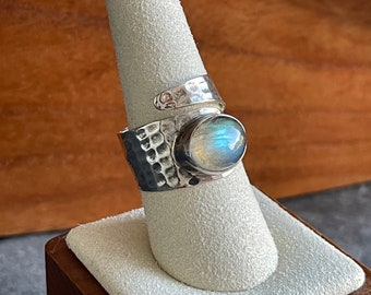Sterling Silver Labradorite Bypass Ring, Free Shipping and Gift Wrap