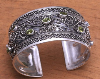 SALE Silver Peridot Wide Cuff Bracelet from Bali,  Free Shipping and Gift Wrap, Trending
