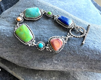 Sterling Silver Turquoise Multi Stone bracelet, Free Gift Box and Shipping