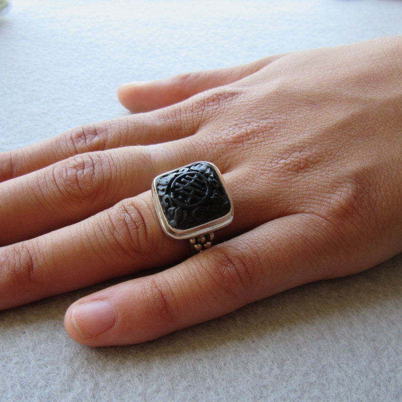 Sterling Silver Onyx Ring Size 8 Carved Asian Chinese image 0