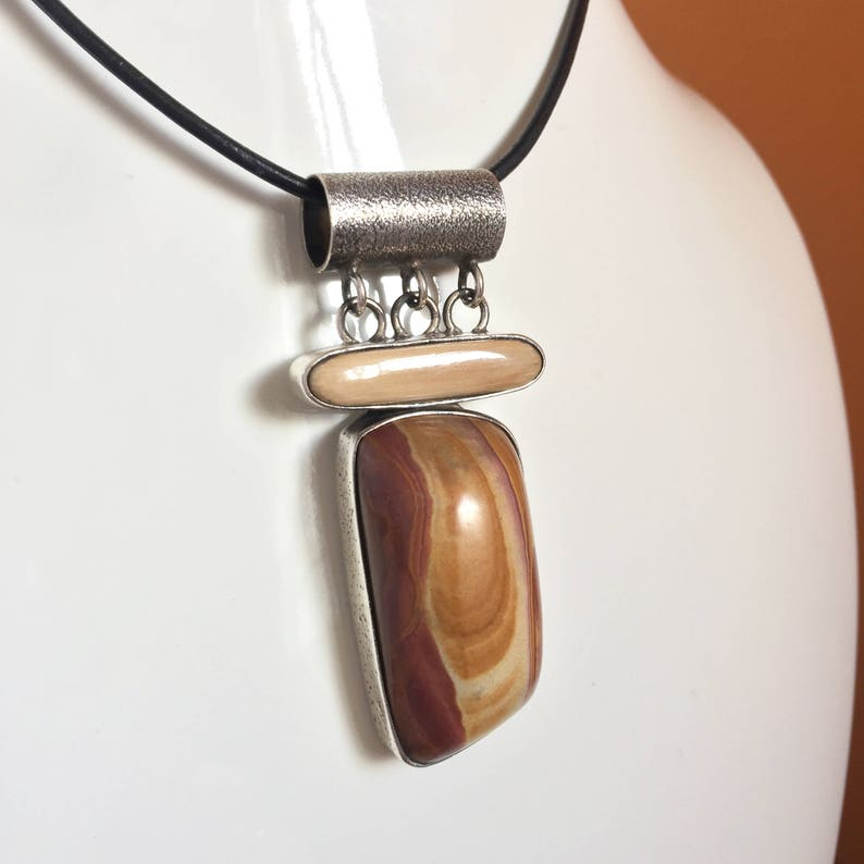 Picture Jasper Necklace Pendant Sterling Silver Handmade image 0