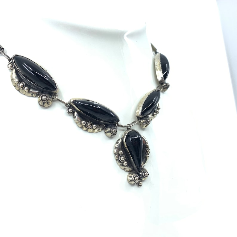Sterling Silver Onyx Necklace Native American Southwestern image 0