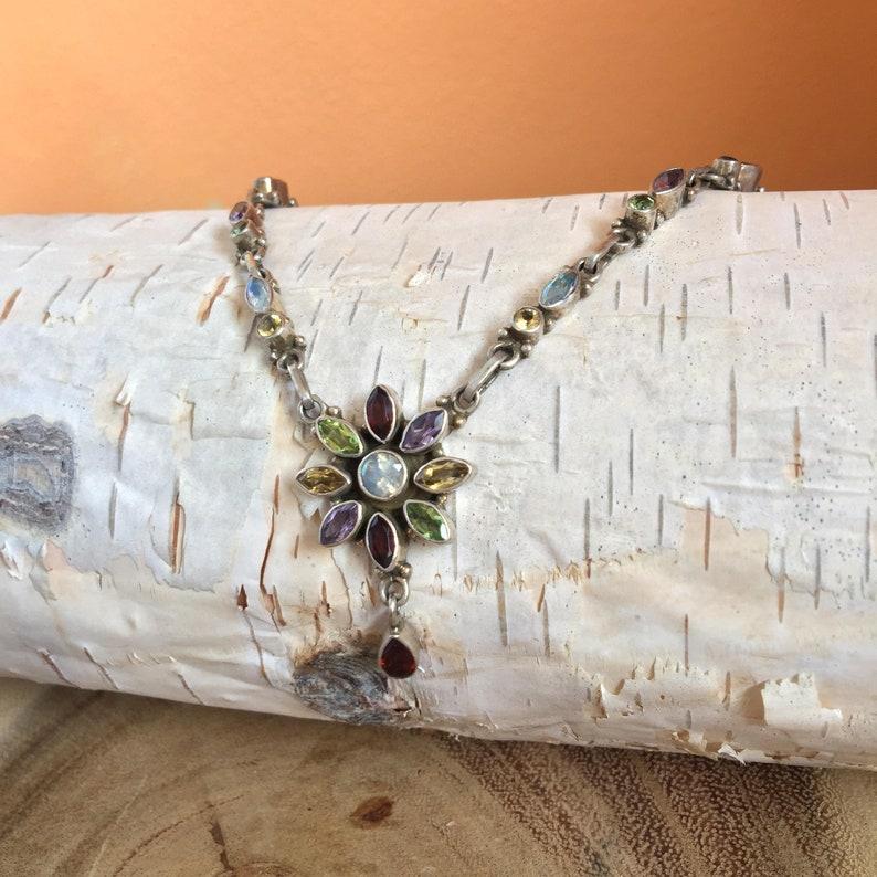 Silver Multi Stone Gemstone Necklace Garnet Moonstone image 0