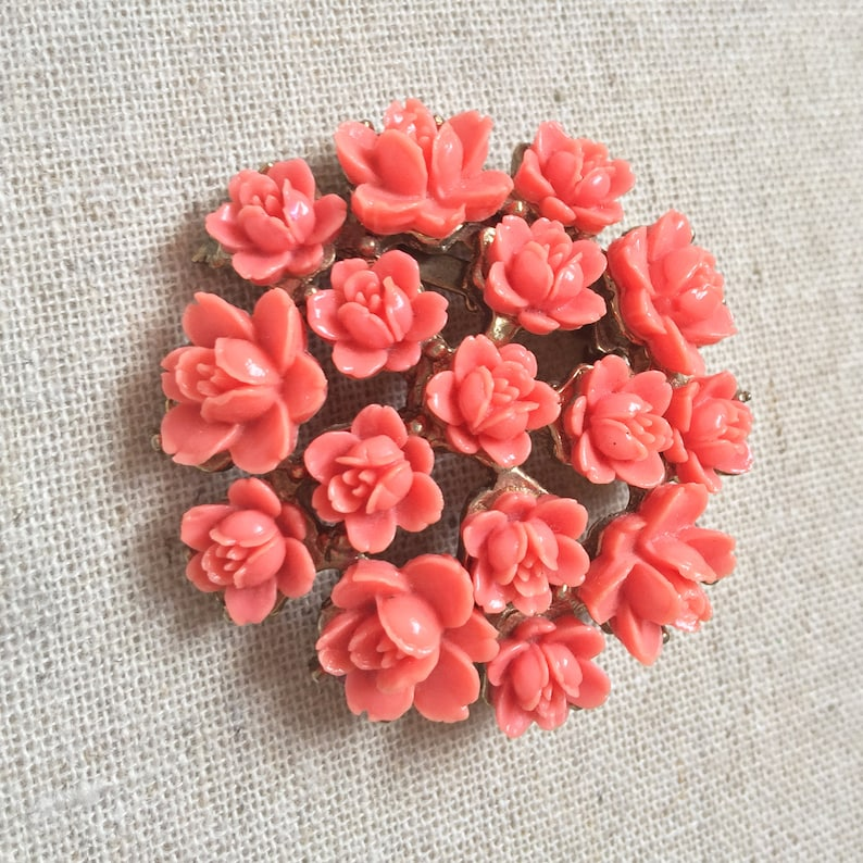 Vintage Coral Flower Brooch Pin Pink Celluloid Flowers image 0