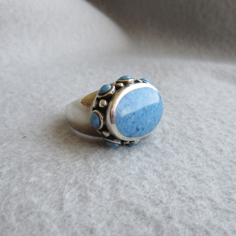 Sterling Silver Blue Stone Ring Statement Ring Size 5.5 image 0