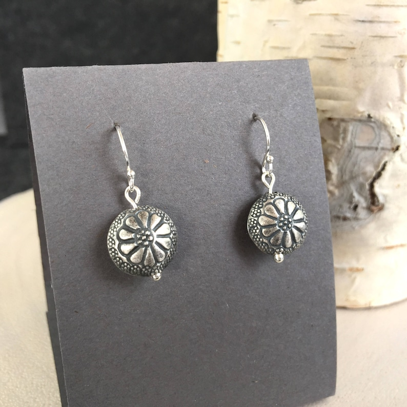 Sterling Silver Flower Earrings Circle Dangle Drop Floral image 0