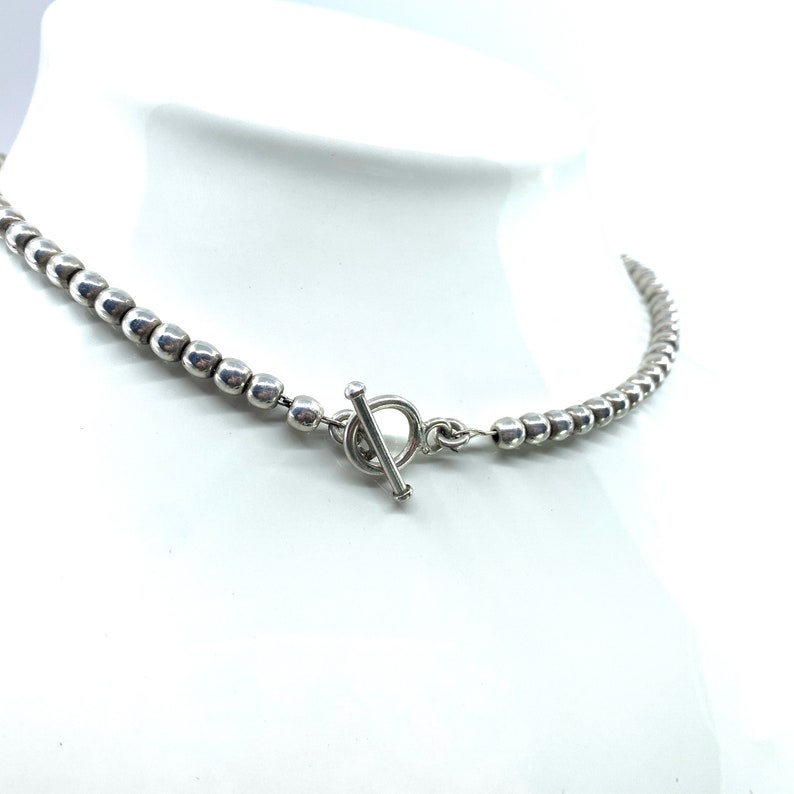Silver Beaded Choker 16 Silver Beads Toggle Clasp image 0