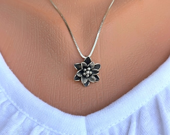 Silver Poinsettia Flower Necklace, Free Shipping and Gift Wrap