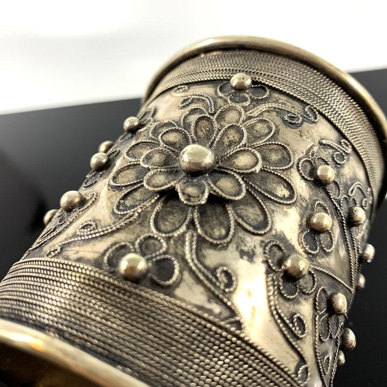 Moroccan Cuff Bracelet Thick Cuff Bracelet Floral Rashaida image 0