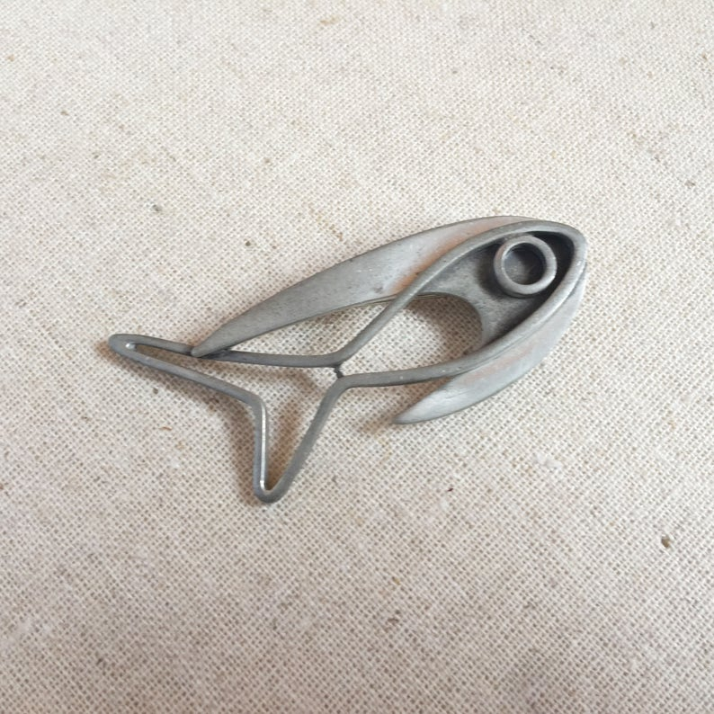 FREE GIFT BOX Vintage Corocraft Abstract Fish Brooch image 0