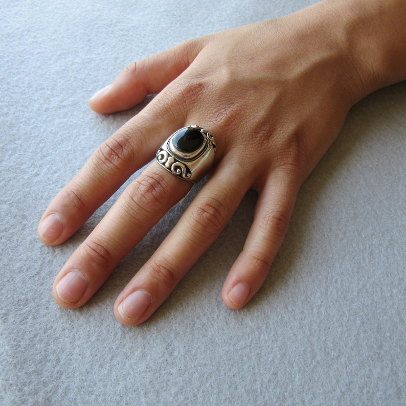 Sterling Silver Onyx Ring Statement Ring  Black Ring image 0