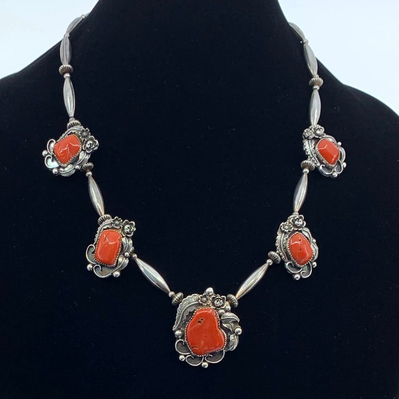 Silver Coral Necklace Navajo Jewelry Lowell Draper Coral image 0