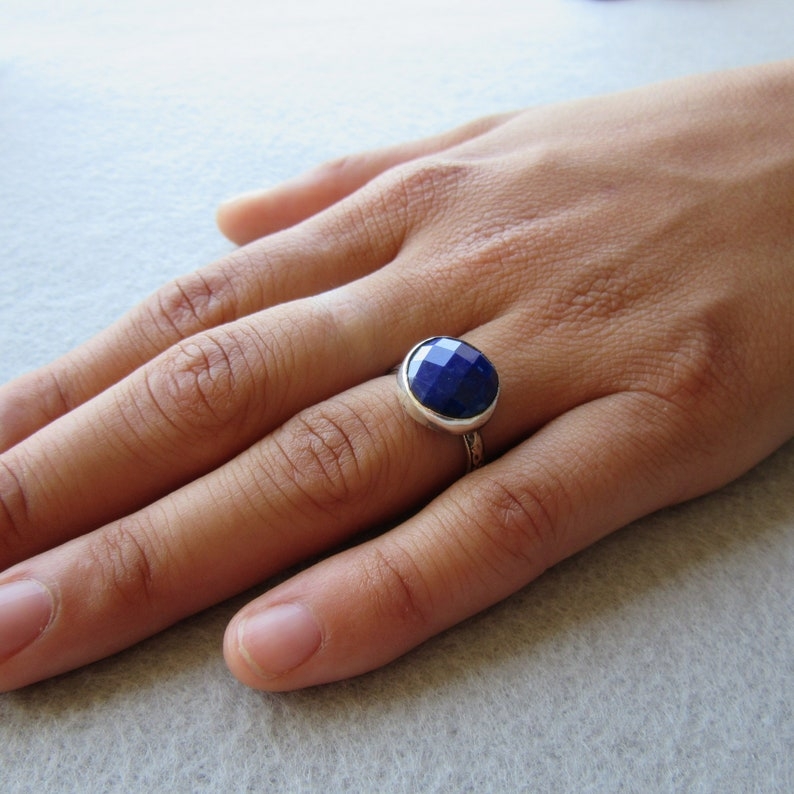 Silver Lapis Ring Handmade Textured Natural Blue Bright image 0