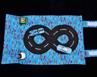 Light Blue 'John Alexander' Car Caddy, fabric car caddy, handmade car caddy, toy cars