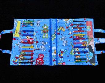 Robots 'Wick' Art Caddy, fabric art caddy, handmade art caddy, pencils, colouring