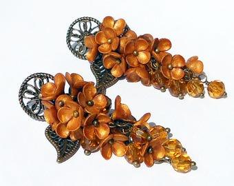 Cluster Earrings brass gold flowers handmade polymer clay Long earrings shiny flowers Jewelry gold flowers Copper flower earrings orange