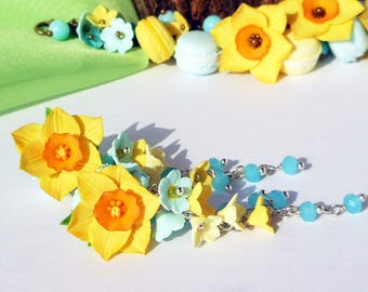 Yellow Daffodils Earrings polymer clay in Romantic style Easter jewelry Daffodils spring earrings Cute pastel earrings Easter gift for her