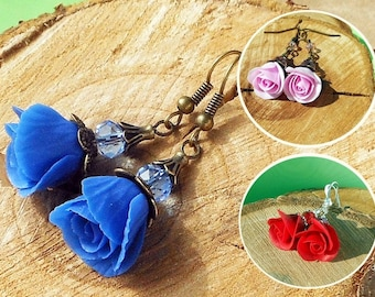 Bridesmaid Gift Drop Earrings Blue roses Pink roses Red polymer clay Wedding jewelry Earrings bridesmaid